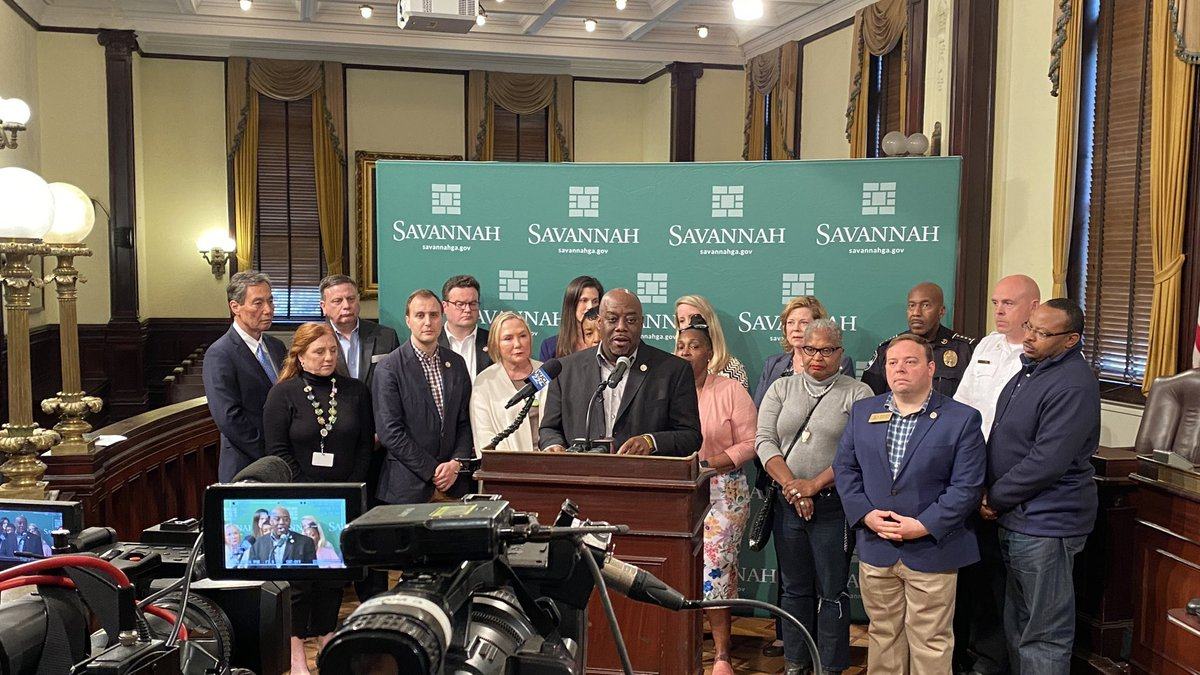 Savannah leaders addressed the media Wednesday to announce the decision to cancel the St....