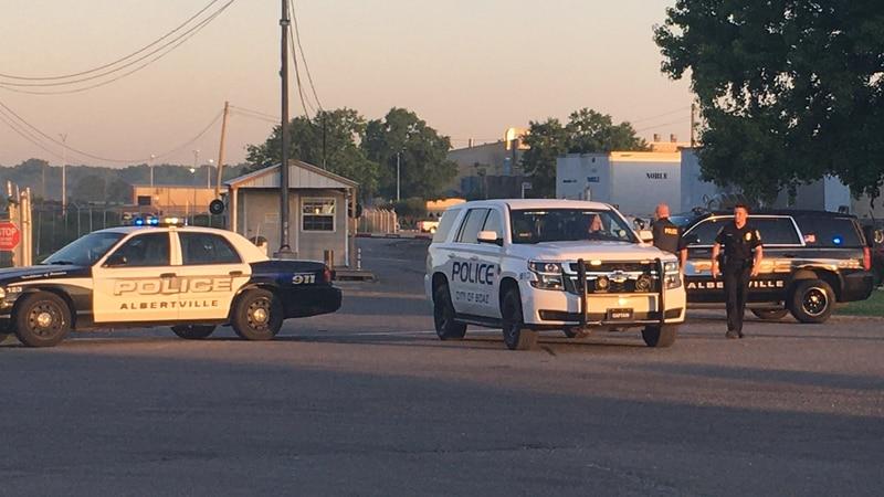 Police presence outside of Mueller Co. in Albertville