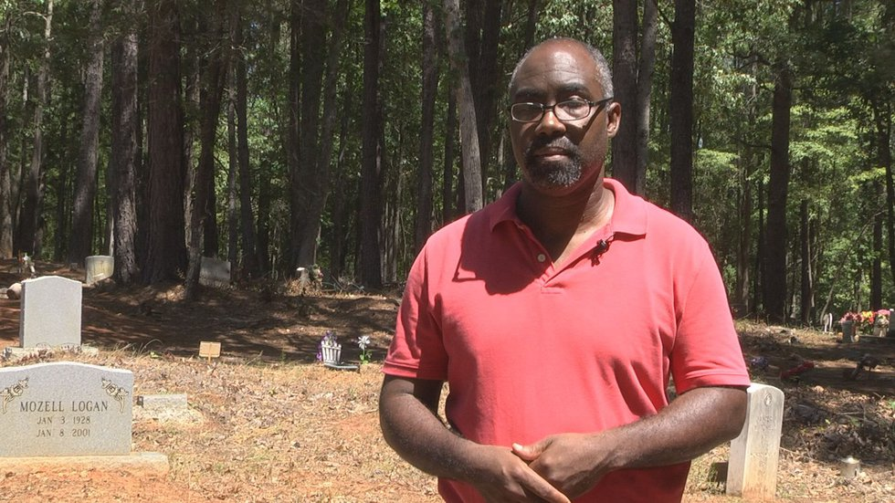 Jackie Whitmore at the 7-acre True Blue Plantation cemetery (Source: WIS)