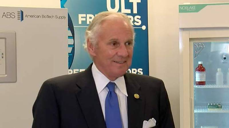 Gov. Henry McMaster speaks to reporters Tuesday after touring Horizon Scientific, a Summerville...