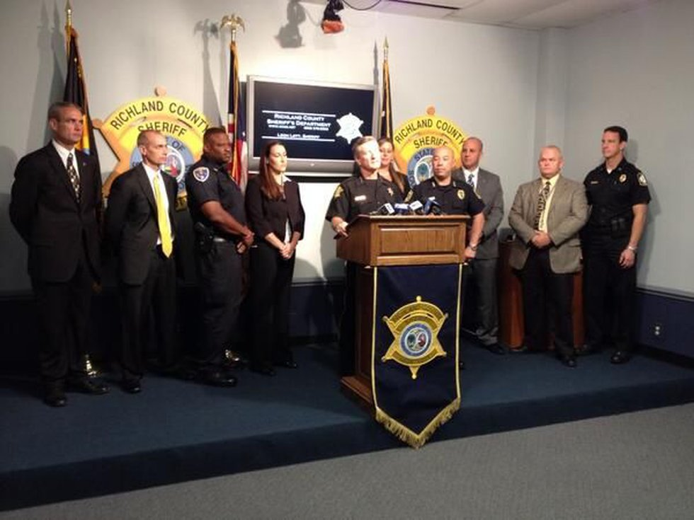 Sheriff Leon Lott, flanked by several members of area law enforcement agencies, announce the...