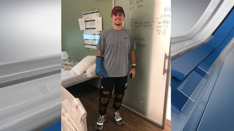 University of South Carolina grad Parker Robinson was injured in a head-on collision on his way...