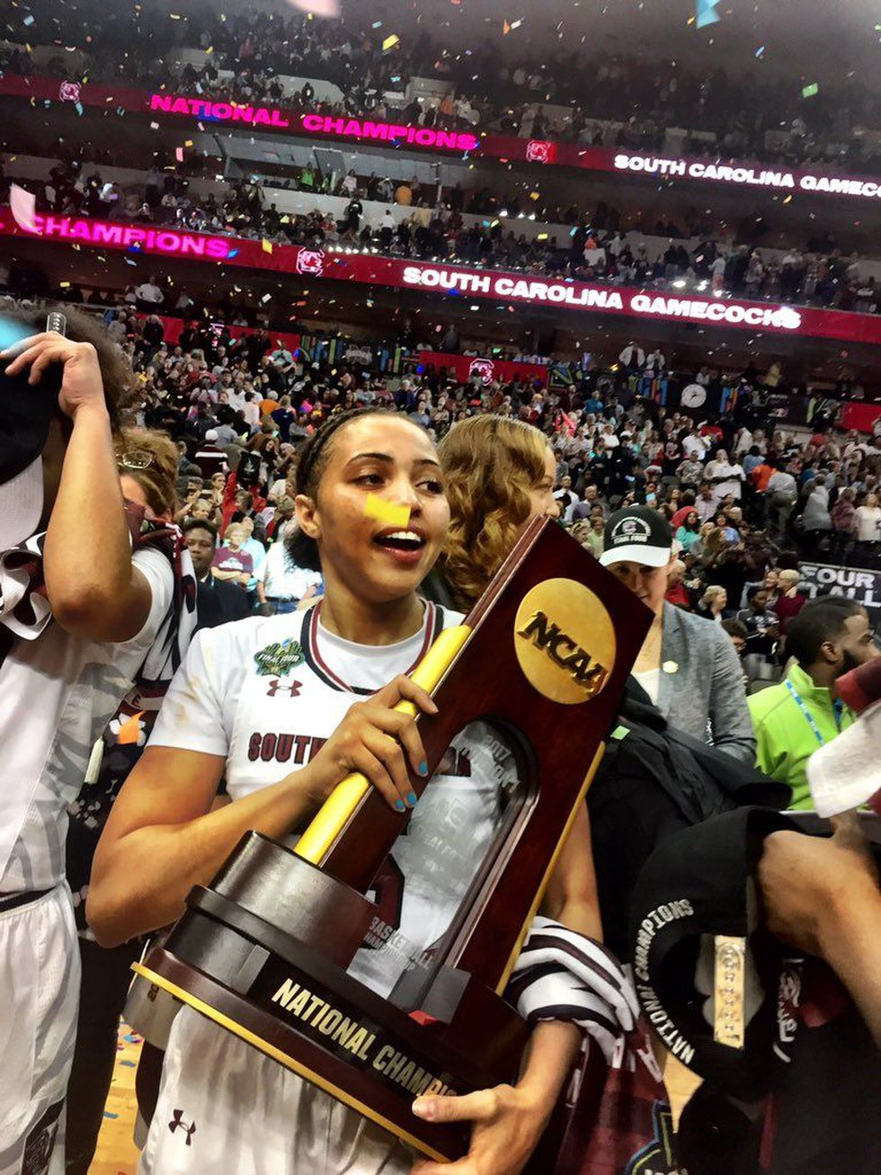 The National Championship trophy is in the hand of the Gamecocks! (Source: Gamecocks Athletics)