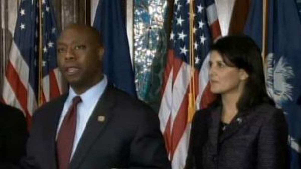 Scott announced his re-election campaign in late June. (This photo is from archive footage from...