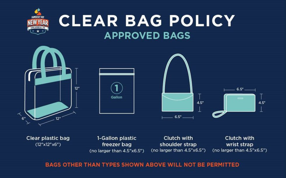New this year, people can only carry a clear bag or small clutch.