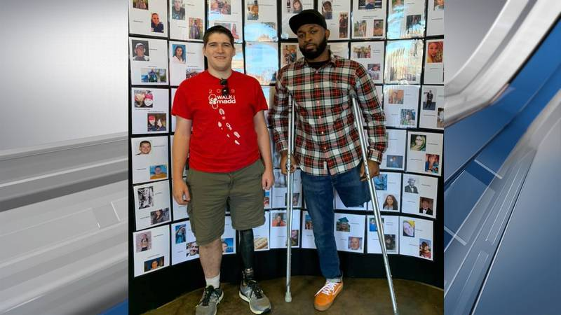 Brandon Zinn (left) and Everette Scott both lost their left leg after collisions that happened...