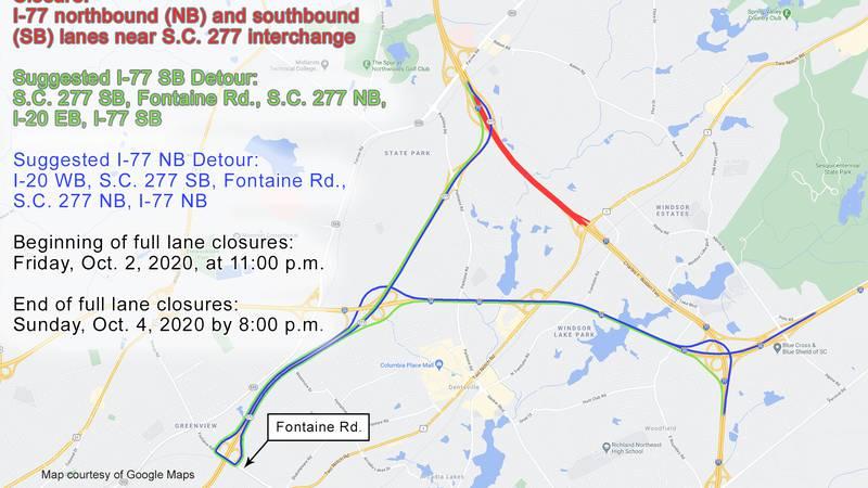 I-77, SC 277 detour map