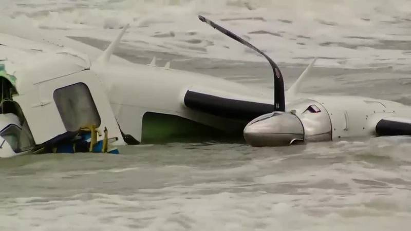 A small plane crashed into the ocean near Springmaid Pier on Monday. (Source: WMBF News)