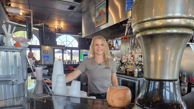 Manager Shannon Jordan behind the bar at The Marina Bar and Grill