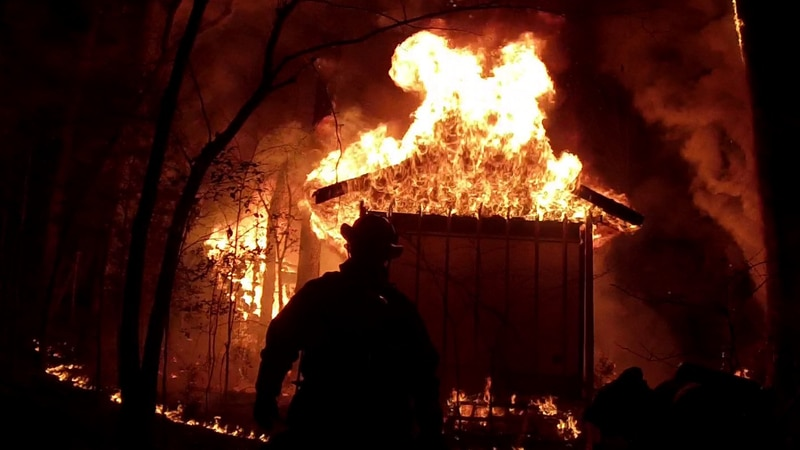 A mobile home in Blythewood was completely destroyed in a fire early Tuesday morning.