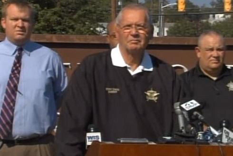 Sheriff Tony Davis speaks to the media Wednesday afternoon.
