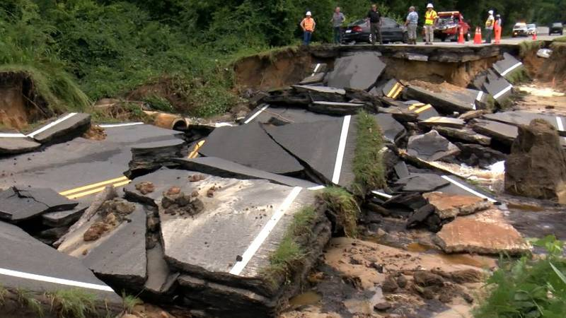 A highway in Colleton County collapsed Wednesday morning following flooding in the area....
