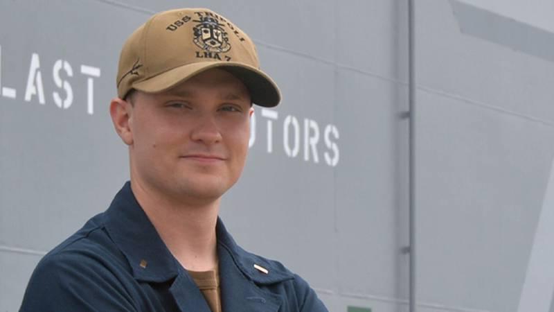 Today, Ensign Stephen Replogle serves aboard USS Tripoli.