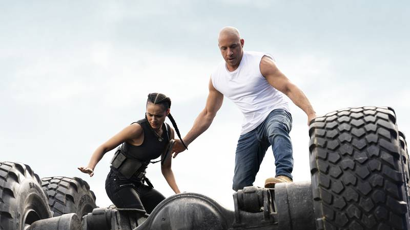 This image released by Universal Pictures shows Vin Diesel, left, and Michelle Rodriguez in a...