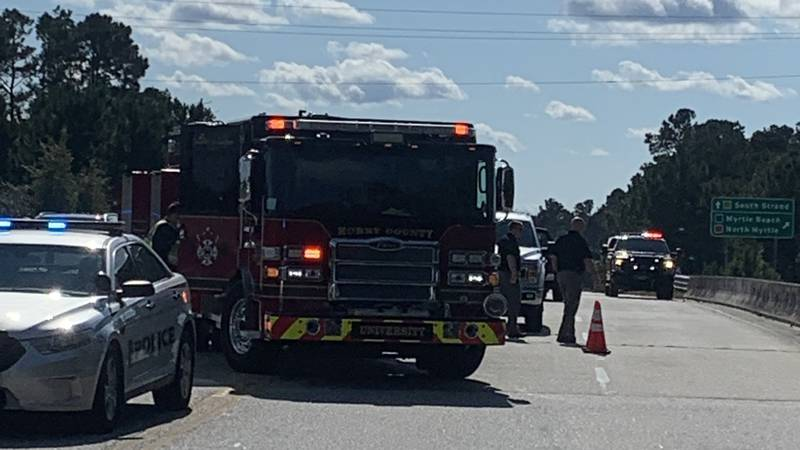 Crews were called to a two-car crash on the S.C. 544 overpass at U.S. 501 Tuesday afternoon.