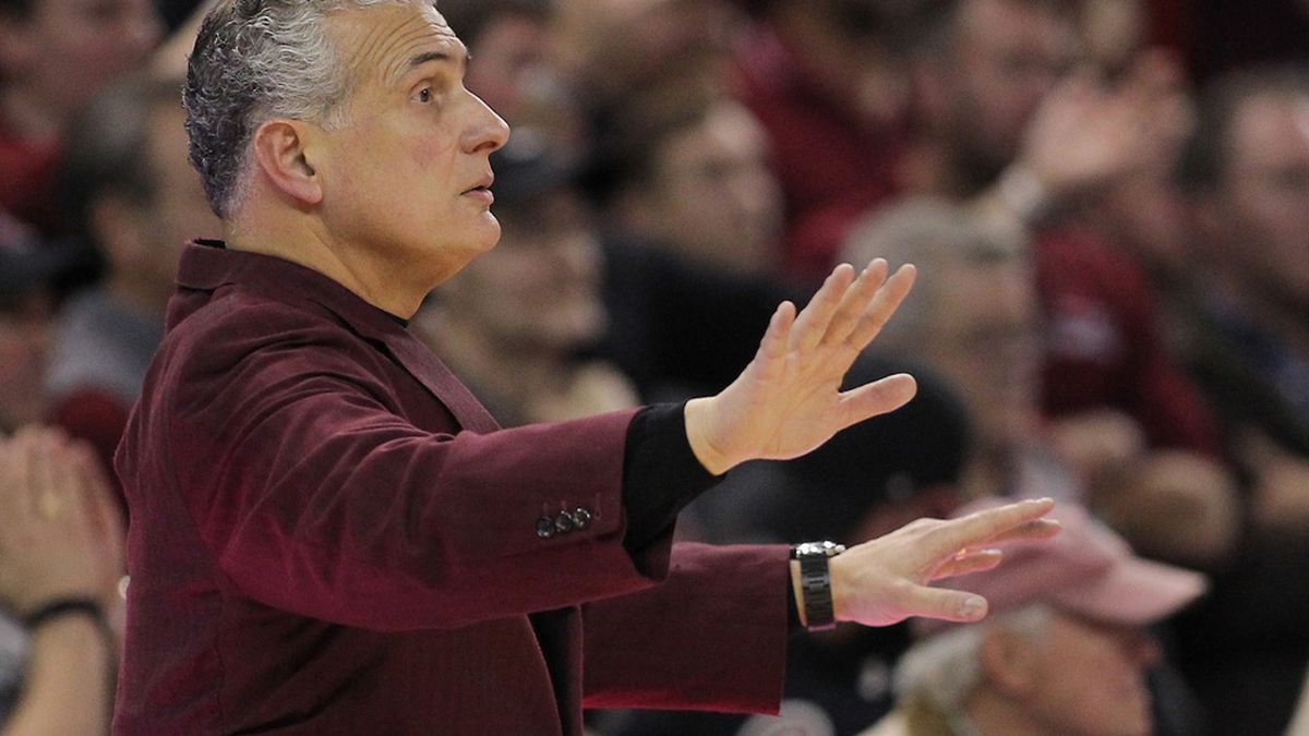 South Carolina head coach Frank Martin is seen against Georgia in Columbia, S.C. on Wednesday,...