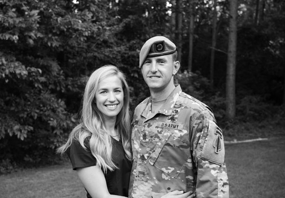 Sgt. Maj. Payne with his wife, Alison, shortly after her return from serving at St. Joseph's...
