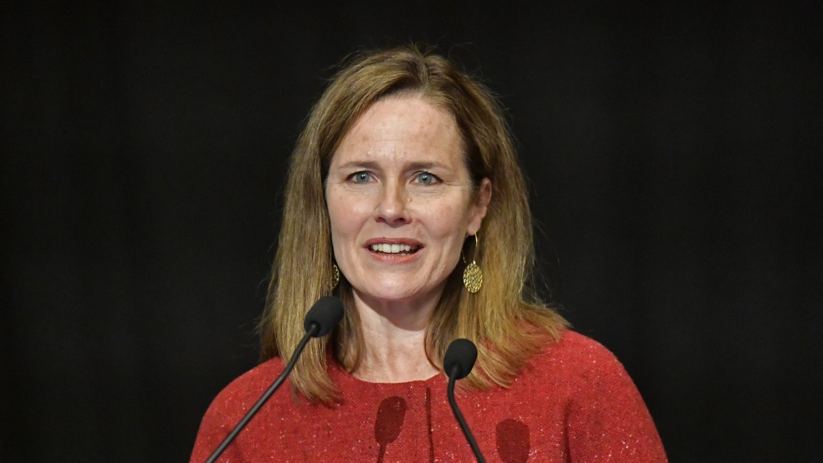 U.S. Supreme Court Associate Justice Amy Coney Barrett speaks to an audience at the 30th...