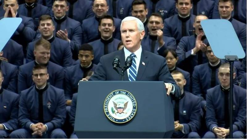 Vice President Mike Pence speaks to Cadets at The Citadel Thursday afternoon.