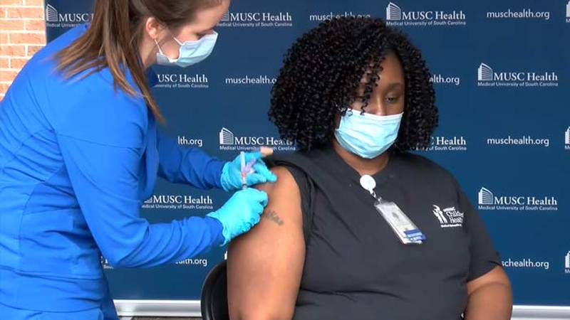 MUSC Pediatric registered nurse Shemika Champion became the first health care worker in the...