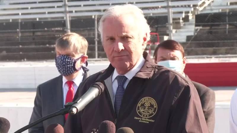 South Carolina Gov. Henry McMaster spoke at Darlington Raceway's COVID-19 vaccine event on...