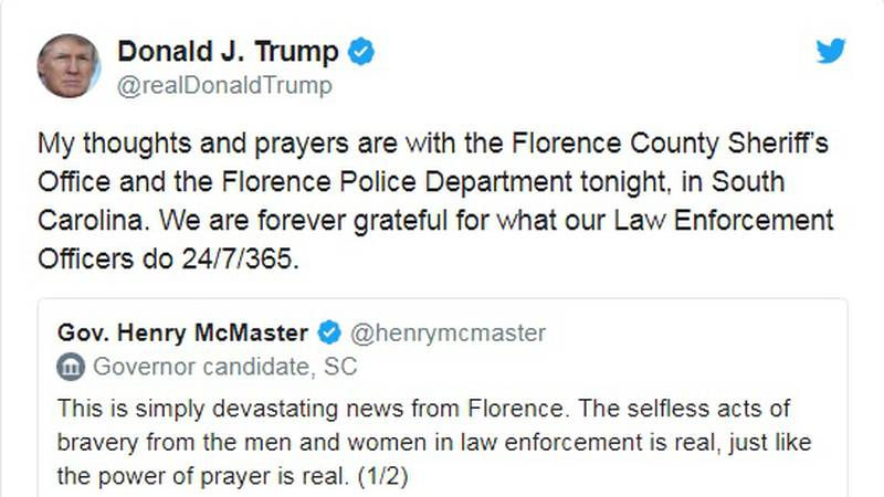 President Donald Trump expresses his sympathy on Twitter following the fatal shooting.