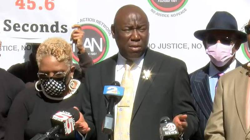 Prominent Civil Rights attorney Ben Crump speaks to reporters Tuesday afternoon on the death of...