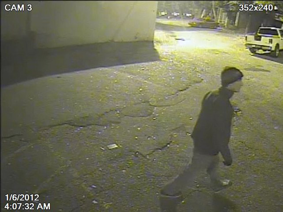 A still image from surveillance video recorded the morning of the fire. (Source: Columbia Fire...