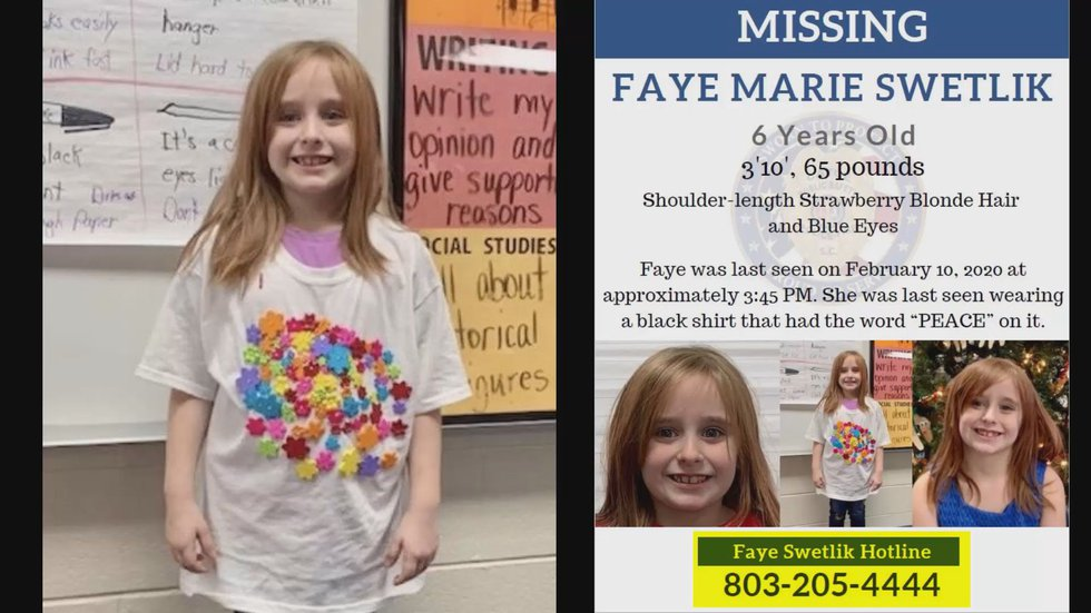 Faye Swetlik has been missing since Monday afternoon when she was last seen in her yard in...