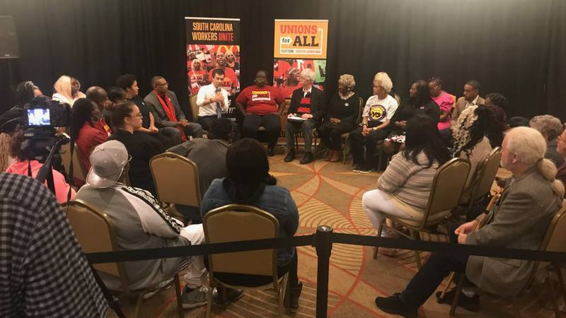 Presidential candidate Pete Buttigieg at the Fight for 15 roundtable discussion (photo source:...