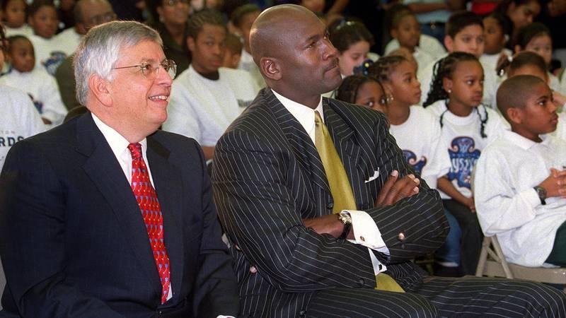 NBA Commissioner David Stern, left, and Michael Jordan, Washington Wizards president of...