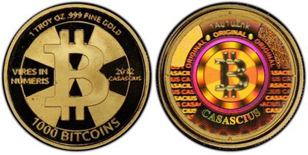 """Forgotten in a desk drawer for years, this 1,000 Bitcoins denomination """"Gold Cas"""" physical coin..."""