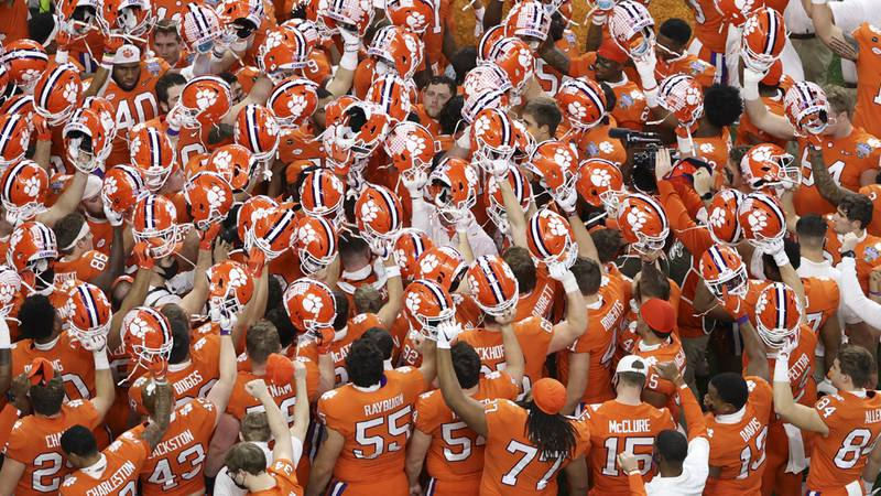Clemson gathers before the Sugar Bowl NCAA college football game against Ohio State Friday,...