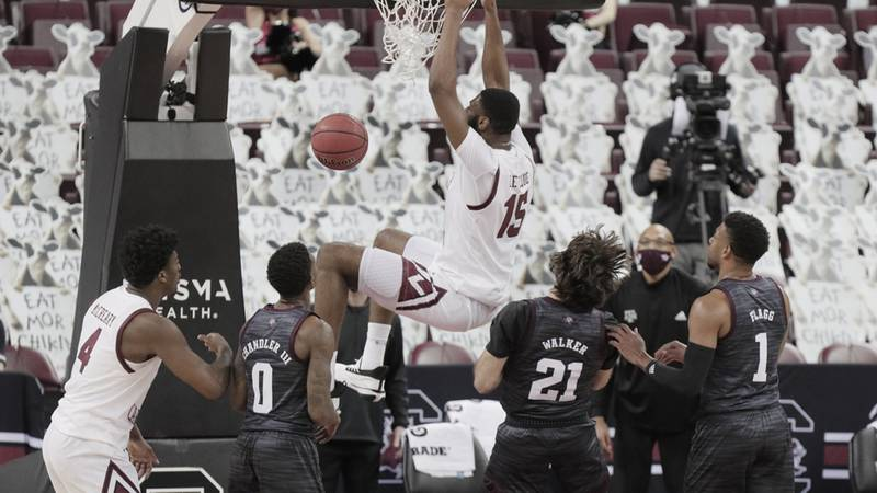 South Carolina Gamecocks forward Wildens Leveque (15) dunks during the game against Texas A&M...
