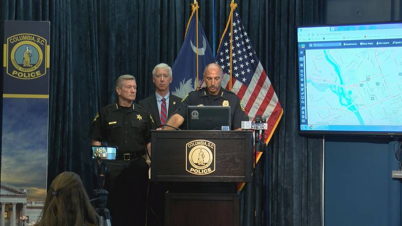 """Columbia Police Chief William """"Skip"""" Holbrook briefed the media on recent shootings that have..."""