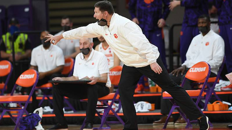 Clemson head coach Brad Brownell coaches against Florida State in the second-half in Clemson,...