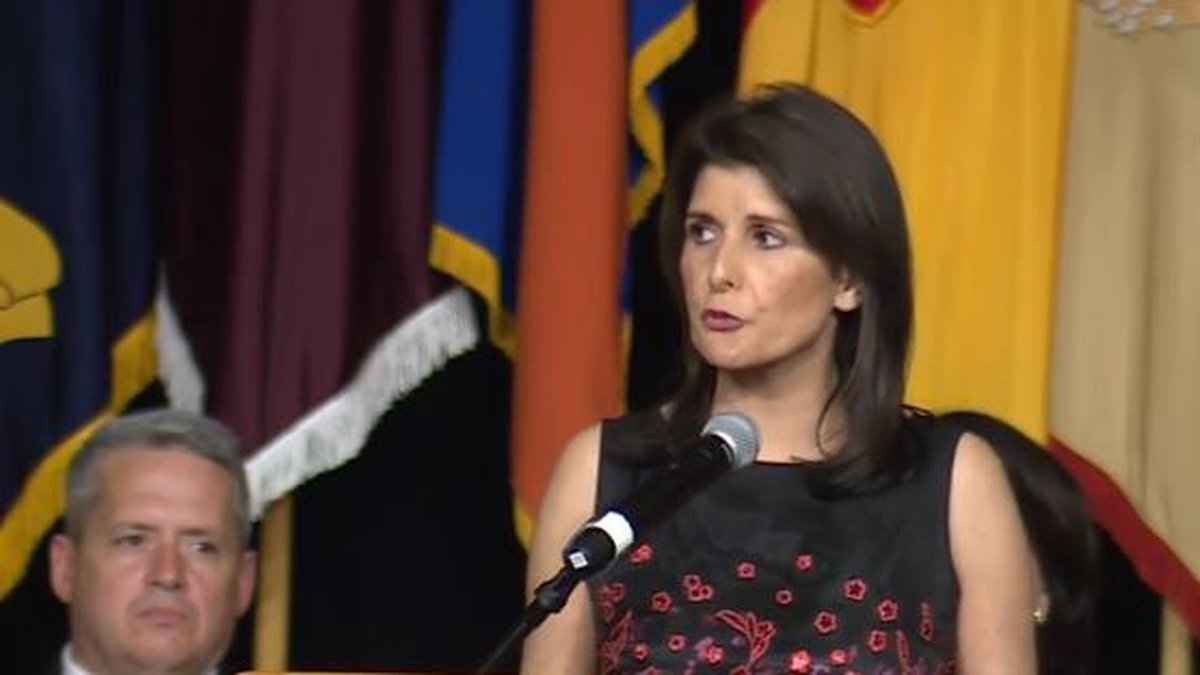 In her first speech since resigning as Ambassador to the United Nations, Nikki Haley came back...