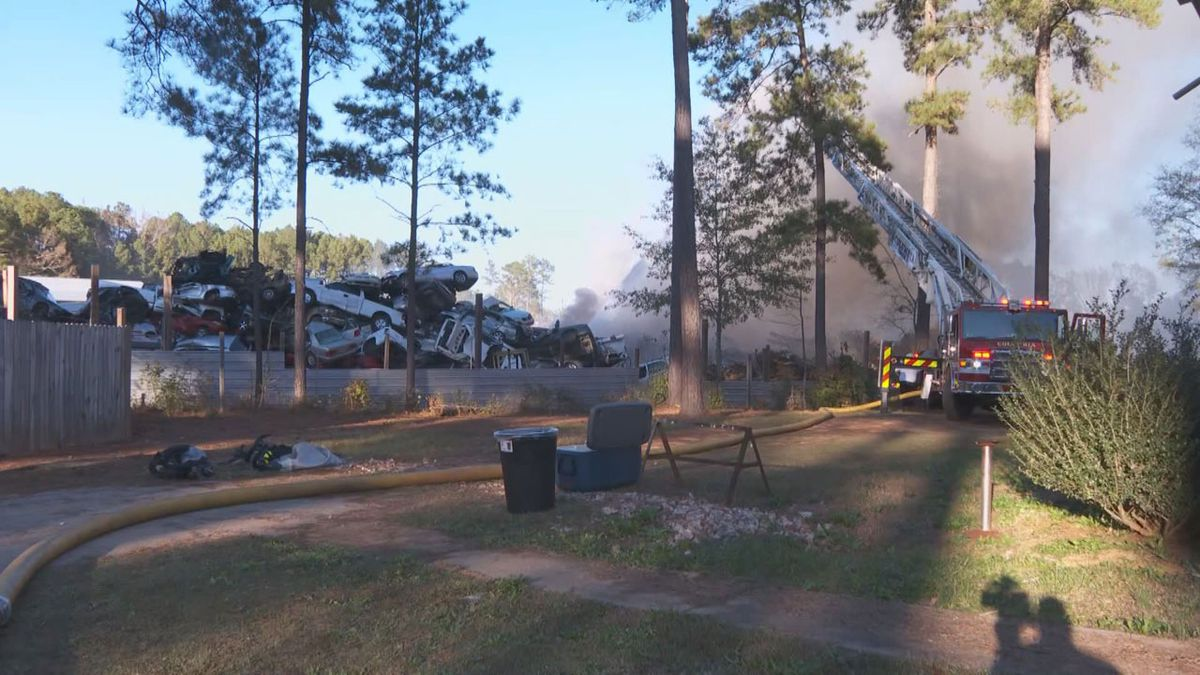 Crews are working to extinguish a fire at a recycling plant on Fairfield Road.