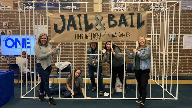 """Teachers, community members, and students are took part in a """"Jail & Bail"""" event during St...."""