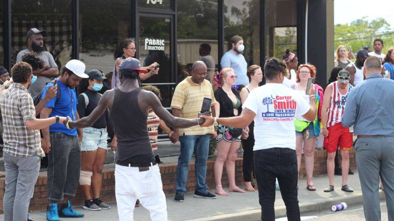 Demonstrators walked peacefully through Myrtle Beach to protest George Floyd's death.