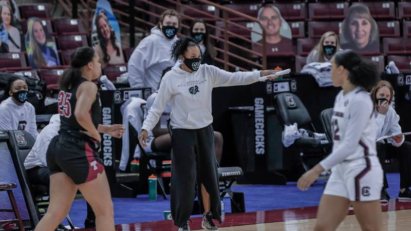 The University of South Carolina Gamecocks, under the direction of coach Dawn Staley play The...