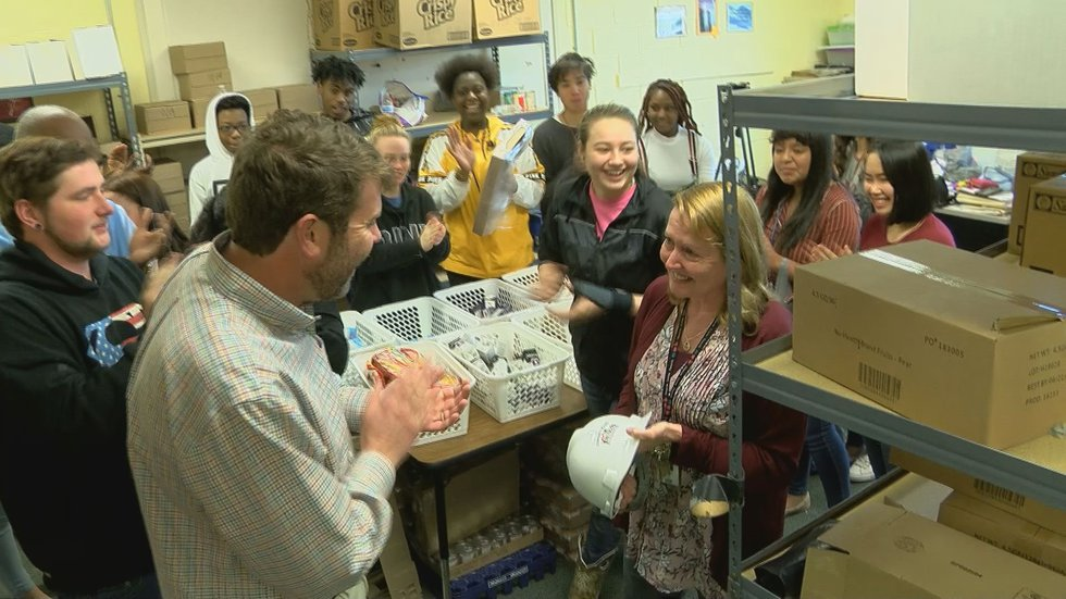 Teacher Tammy Jones leads a food pantry program that she says reaches hundreds of people a month.