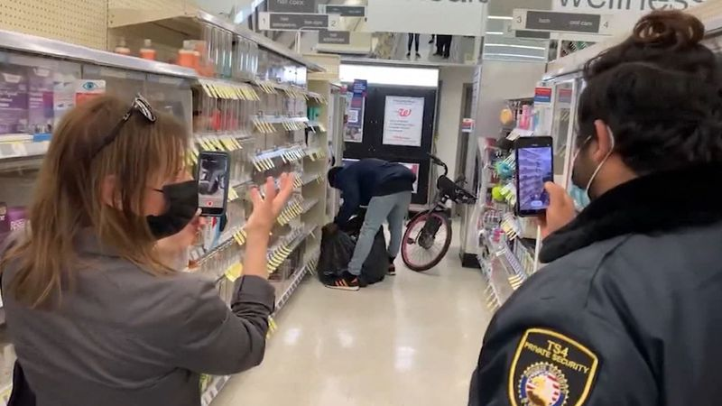 A man stole a garbage bag full of items from a California Walgreens with security filming in...