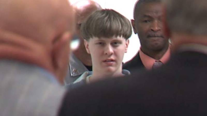 Dylann Roof enters a Charleston County Judicial Center courtroom in April 2017. Roof was...