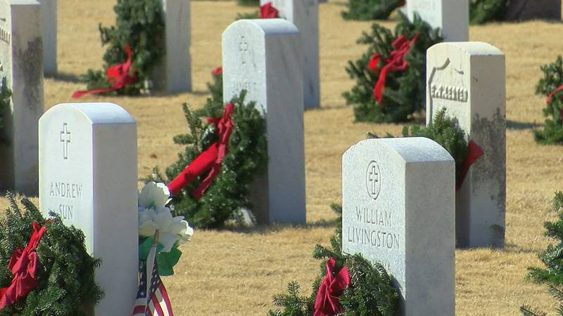 Thousands of wreaths at more than 1,400 locations across the United States are laying on the...