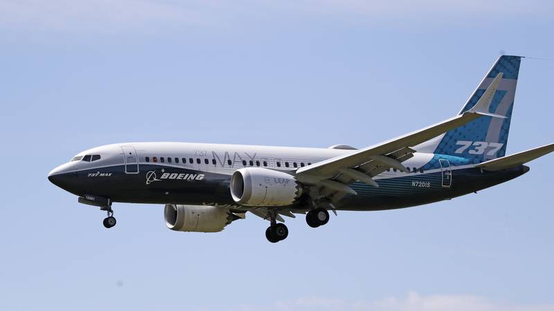 FILE - In this Monday, June 29, 2020, file photo, a Boeing 737 Max jet heads to a landing at...