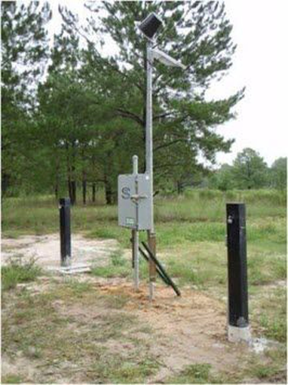A USGS monitoring station installed in a Chesterfield County field.
