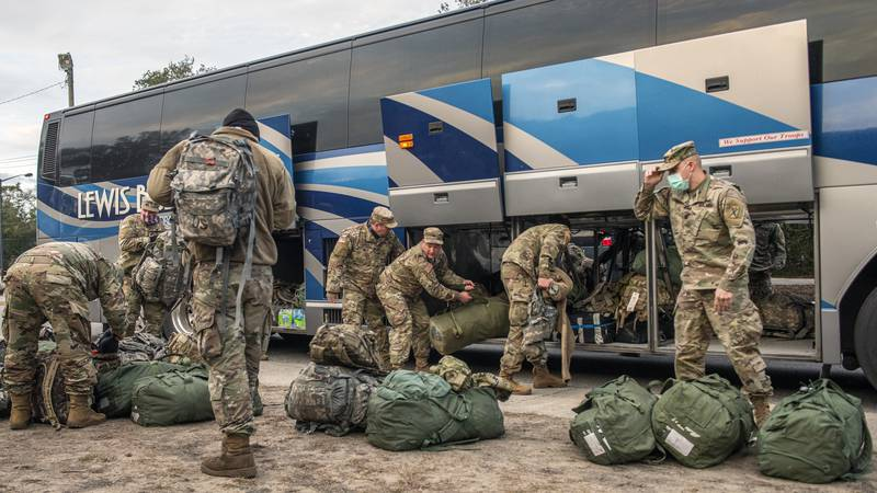 U.S. Army National Guard Soldiers with the South Carolina National Guard return from the...