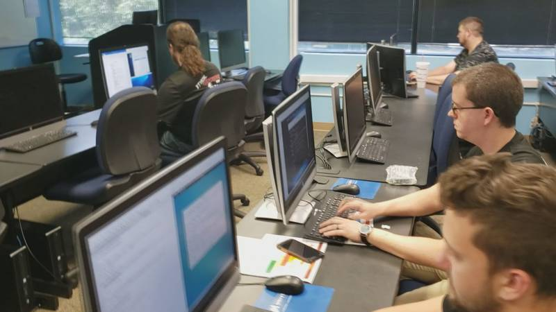 ECPI Cybersecurity team practice (Source Franklin Pearson)