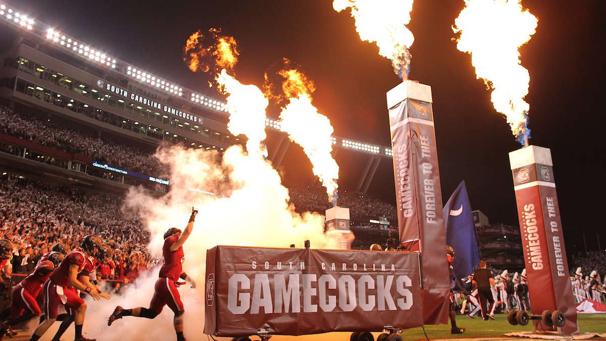 South Carolina enters the field before the Clemson game in Columbia, S.C. on Saturday, Nov. 25,...
